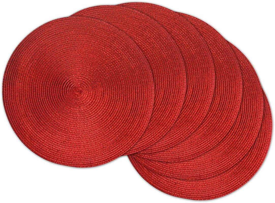 DII Round Braided Woven Indoor Outdoor Placemat Or Charger Set Of 6 Metallic Red