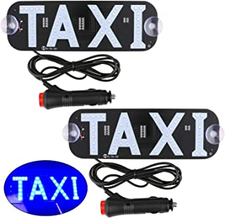 Sdootauto Taxi LED Sign Decor, 2 Pack LED Light Sign Logo, Flashing Hook on Car Window with DC12V Car Charger Inverter for Rideshare Driver - Blue
