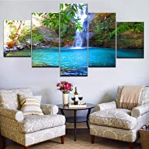 Wangjru Canvas Art Prints Poster Wall Modular Pictures 5 Pieces Waterfall Landscape Spray Painting Retro Bedroom Home Deco...