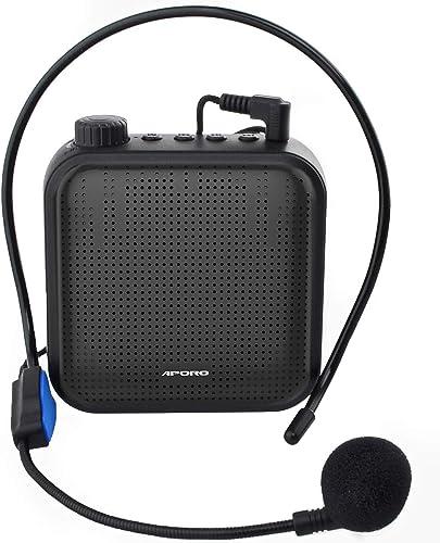 Amplificateur de Voix, Système de Sonorisation Rechargeable 12W (1200mAh) avec Microphone Filaire pour les Enseignant...