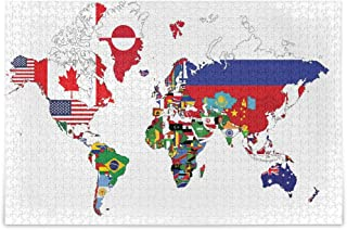 DIY Puzzle 1000 Pc for Adult Children - Jigsaw Puzzles World Map with Country Flags Educational Intellectual Decompressing...