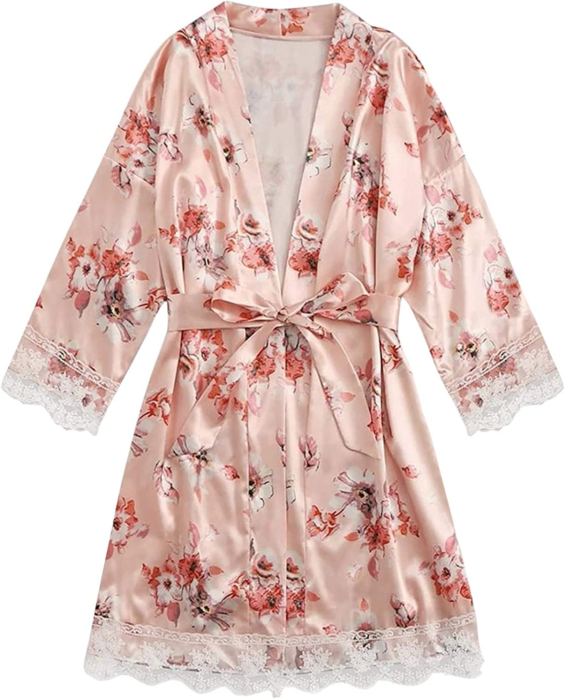 Kexle Women Satin Silk Pajamas Women Sexy Fashion Print Solid Color Nightdress Lingeries Robes Underwear Sleepwear Dress