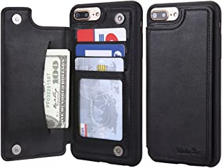 iPhone 8 Plus/iPhone 7 Plus Wallet Leather Case for Men, 3 Card Holder/ID Slots, Protective Cover for iPhone 6s Plus - Black