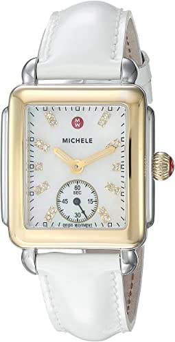 Deco Mid Two-Tone, Diamond Dial On White Patent Watch