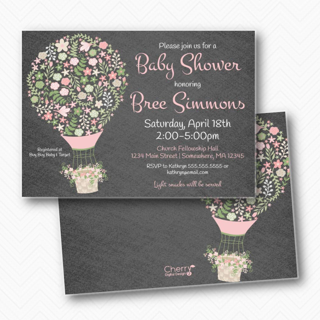 Limited price Large-scale sale Baby Shower Invitations Printed Hot Air In Balloon Envelopes
