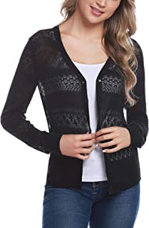 Women Knitted Bolero Shrug Long Sleeve Crochet Button Down Cardigan Sweater