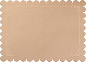 Kraft Paper Placemats - 100-Pack Disposable Placemats for Dining Table, Scalloped Edges and Beige Border, Wedding, Anniversary, Birthday Party Supplies, Table Decoration, Brown, 14 x 10 Inches