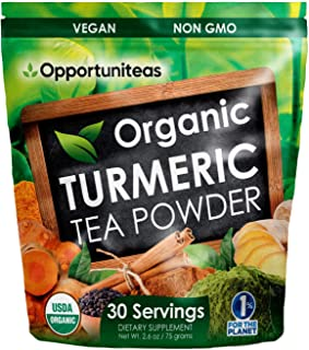 Organic Turmeric Tea Powder - Matcha Green Tea, Turmeric, Cinnamon, Ginger, Black Pepper - Natural Joint Support Supplemen...