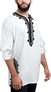Daupanzees Men Tunic T-Shirt Caftan Shirt Breathable Polyester Fiber Handmade Embroidery Ethnic Tops Tee