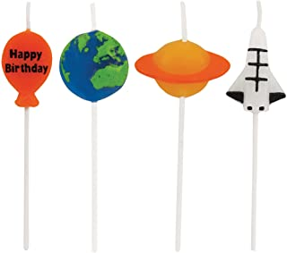 """Creative Converting Space Birthday Pick Candles Blue/Green/Orange/Multicolor, 3"""""""