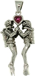Jewelry Trends Scuba Divers Garnet Heart Sterling Silver Pendant