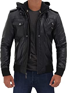 Bomber Leather Jacket with Hood - 100% Real Lambskin Hand Waxed Leather - Removable Hood