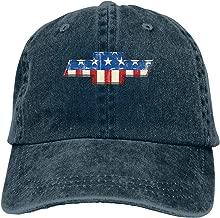 Men Vintage Adjustable Cap Personalized Chevrolet Bowtie American Flag Funny Baseball Cap Hat, Navy