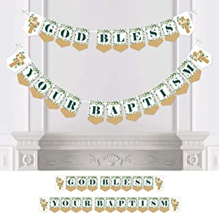 Big Dot of Happiness Baptism Elegant Cross - Religious Party Bunting Banner - Party Decorations - God Bless Your Baptism