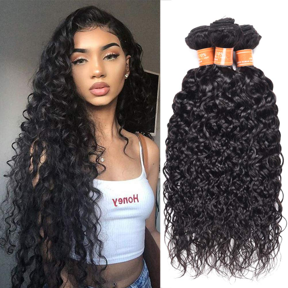 Wome 予約 Hair Brazilian おしゃれ Virgin Natural Water Curly Wave Black H