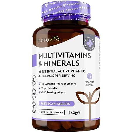 Multivitaminico e Minerali - 365 Compresse Vegane (Fornitura di 1 anno) con 26 Vitamine e Minerali Essenziali - Compresse Multivitaminiche per Uomini e Donne - Prodotto nel Regno Unito da Nutravita