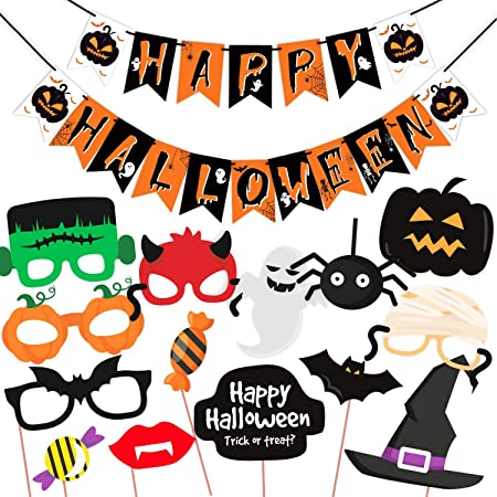 Halloween Party Items.Wobbox Halloween Party Prop Photo Booth Props Diy Kit With Bunting Banner For Party Supplies Featuring Boo Pumpkin Ghost Halloween Decorations Photo Booth Props Combo Yu Amazon In Toys Games