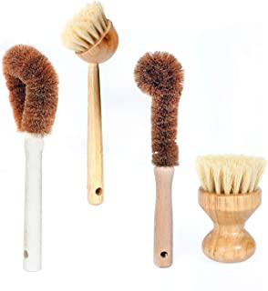 Dish Brush, Cleaning Brush Set for Vegetable and Kitchen Cleaning, Sisal & Coconut Fibers, Zero Waste & Biodegradable Kitchen Brushes 4PCS