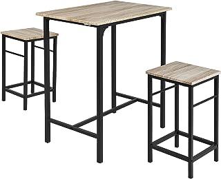 SoBuy® OGT10-N Set de 1 Table + 2 Tabourets Ensemble table de bar bistrot + 2 tabourets avec repose-pieds Table Mange-debo...