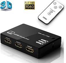 Musou Switcher HDMI, 3D Full HD 1080p Splitter HDMI Switch 3 Enter 1 Exportación Con control remoto amplificador para Blue-ray TV HD-DVD PS3 y Xbox etc.