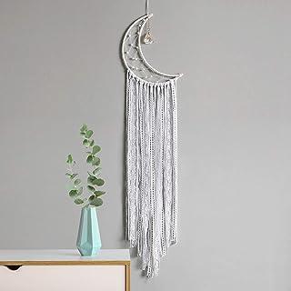 Alynsehom Moon Dream Catcher White Dreamcatcher Half Circle Handmade Dream Catchers Crystal Stone Pendant Hanging Wall Boh...