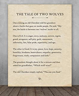 Poster - The Tale of Two Wolves - Choose Unframed Poster or Canvas - Makes a Great Gift for Book Lovers
