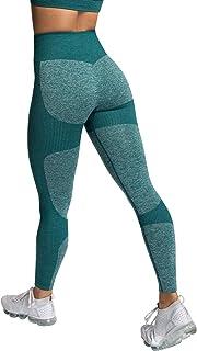 Voqeen Camisola y Pantalones de Yoga de Punto Sin Costuras para Mujer, Mallas Elásticas de Cintura Alta, Mallas para Corre...