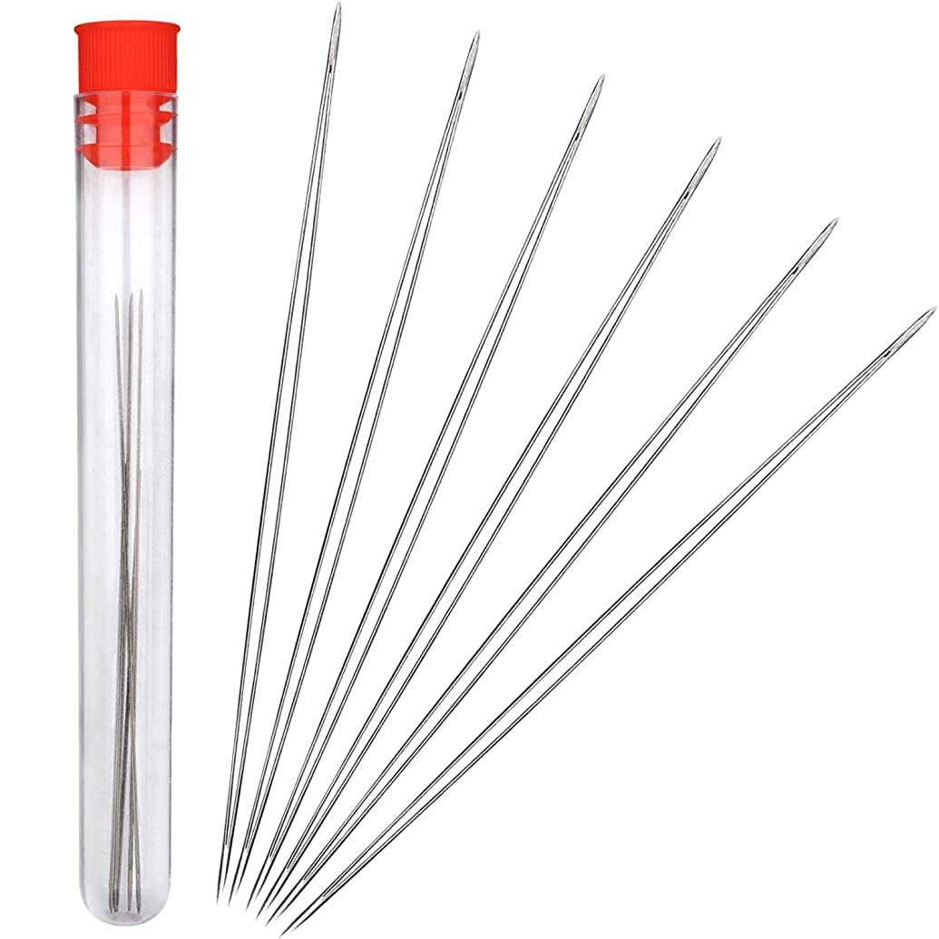 Shappy 6 Pieces Big Eye Beading Needles with Needle Bottle (3 inch)