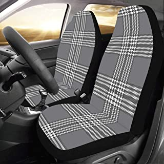 Black White Plaid Texture Custom New Universal Fit Auto Drive Car Seat Covers Protector for Women Automobile Jeep Truck SUV Vehicle Full Set Accessories for Adult Baby (Set of 2 Front)