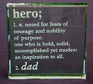 Crystal Etch Personalized Definition of Hero: Etched Glass Paperweight Engraved with Heros Name