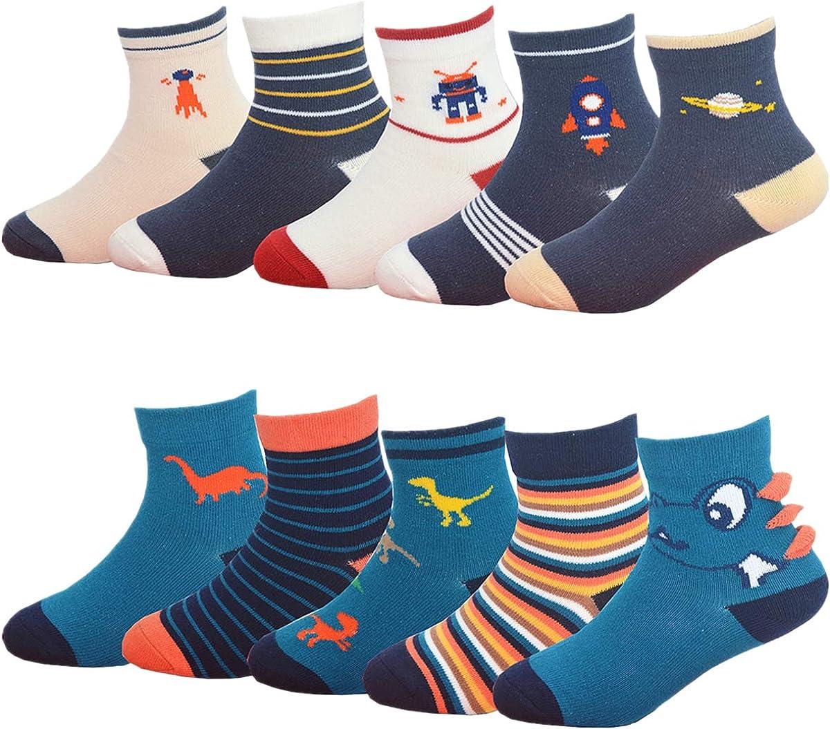 Toddler Dinosaur Cotton Crew Socks for Little Kids, Gifts for Boys