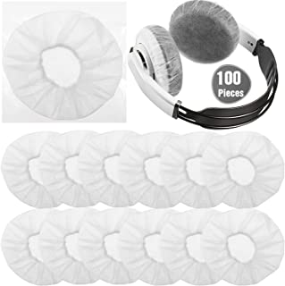 100 Pieces Headphone Ear Covers Disposable Non-Woven Earpad Covers Stretchy Earcup Covers Fit for Most on Ear Headphones (...