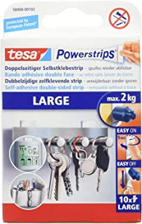 Tesa powerstripslarge pour Max. 2 kg, Paquet de 10 Bandes (4 Paquets de 40 Bandes)