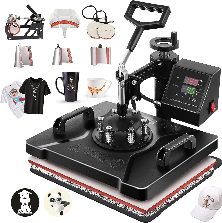 Columbus Mall 8 in 1 12 x 5 ☆ very popular 15 INCH Heat Press Ha Swing 360 T-Shirt Away Machine