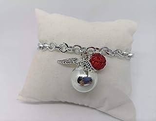 Bracciale chiama angeli con pallina strass rosso Realizzato a mano in acciaio e alluminio anallergico e senza nichel. Idea...