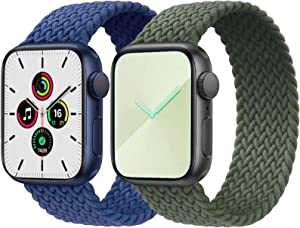 2-Pack Solo Loop Strap Compatible with Apple Watch Band 42mm 44mm,No Clasps No Buckles Stretchable Braided Sport Elastics Replacement Wristband for iWatch Series 6/5/4/3/2/1,SE,Blue&Green,10#