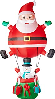 NH Spread a Little Joy This Holiday Season with Adorable Santa Hot Air Balloon Inflatable,Lights up,Easy to Setup and Self Inflates in Seconds,for Indoor and Outdoor Use
