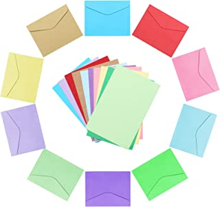 PAFUWEI Colored Envelopes, 100pcs Mini Colorful Envelopes 10 Colors Business Card Envelope with 100pcs Mini Gift Card for ...