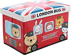 WoneNice London Bus Collapsible Leather Storage Ottoman, Toy Box Folding Storage Ottoman for Your Bedroom