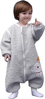 Saco de dormir para bebé, de manga larga, para invierno, con diseño de perro, saco de dormir con patas, de algodón, unisex, para todo el año gris gris Talla:100 cm (3-4 Jahre)
