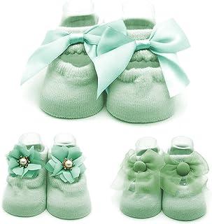 Calcetines Padgene Cute y cómodos para bebé (3 Piezas, Verde)