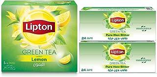 Lipton Green Tea Lemon, 100 Tea Bags + Green Tea Non Bitter, 48 Tea Bags