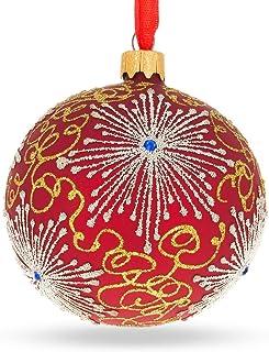 BestPysanky Jeweled Snowflake On Red Glass Christmas Ornament