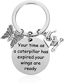 Graduation Gifts for Her College Graduation Congratulations Gifts Keychain - Your Time as a Caterpillar has Expired. Your Wings are Ready