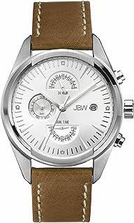 ساعة جيه بي دابليو ودال 4 دايموندز فضية متعددة الوظائف مع التاريخ للرجال بسوار من الجلد - J6300B