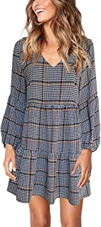 Womens Printed Swing Shift Dress Long Sleeve V Neck Tunic Dress