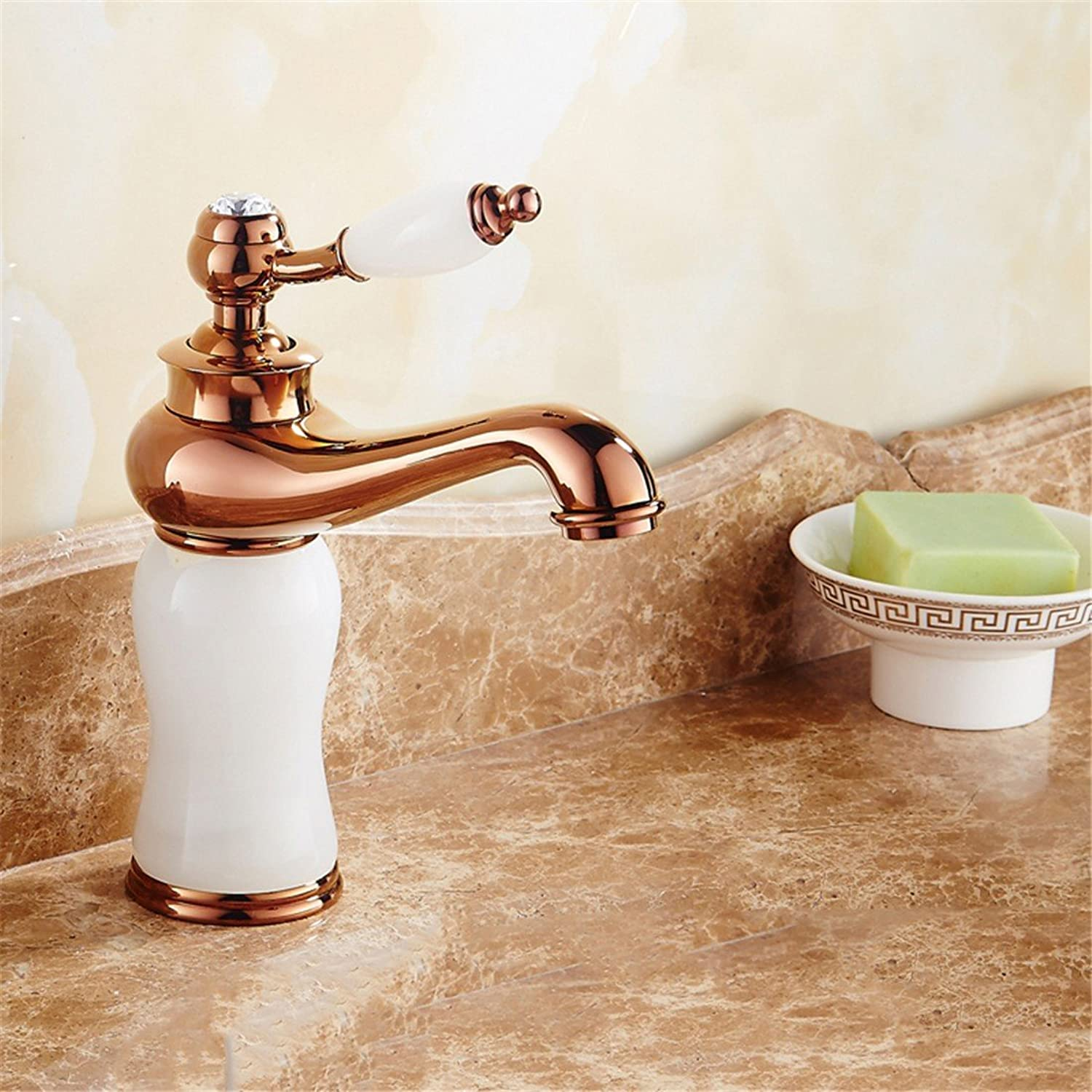 Fbict European-Style Faucet gold Basin hot and Cold bluee Jade Marble Basin Faucet Copper washbasin Faucet, Classic White Jade (pink gold) for Kitchen Bathroom Faucet Bid Tap