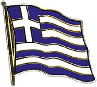 Motivo: bandiera della Grecia, placcata oro, in smalto, preciso Lapel Pin Badge