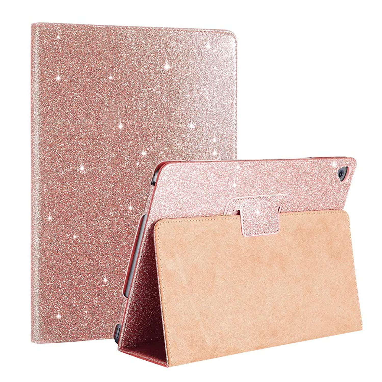 FANSONG iPad 2 3 4 Glittery Case, Sparkle Bling PU Leather Smart Cover [Flip Stand Function] [Auto Sleep/Wake] Case for iPad 2/3/4 (Rose Gold)