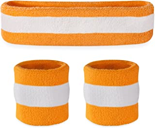 Striped Sweatband Set - (1 Headband and 2 Wristbands) Cotton for Sports & More.